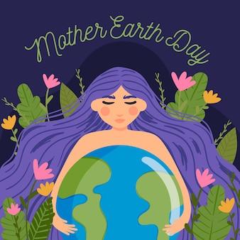 Platte ontwerp internationale moeder aarde dag evenemententhema