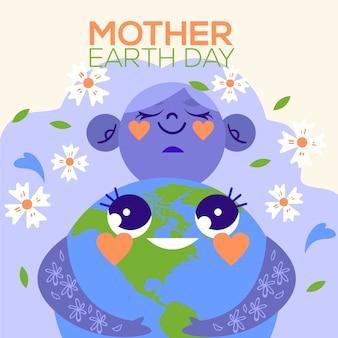 Platte ontwerp internationale moeder aarde dag thema
