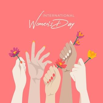 Platte ontwerp internationale vrouwendag illustratie