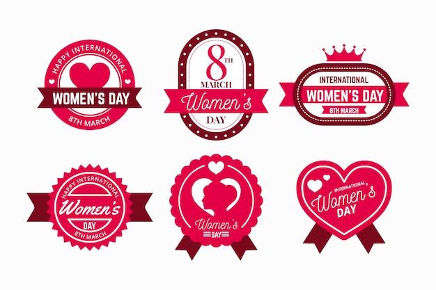 Platte ontwerp internationale vrouwendag labelpakket