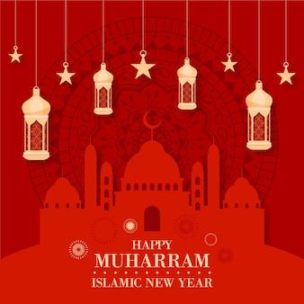 Platte ontwerp islamitische nieuwjaar concept