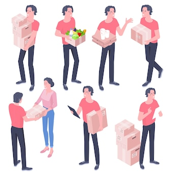 Platte ontwerp isometrische set van levering man met kartonnen dozen geïsoleerd op wit. het concept van koeriersbezorging aan de deur.