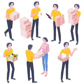 Platte ontwerp isometrische set van levering man met kartonnen dozen geïsoleerd op wit. illustratie service quarantaine pandemie coronavirus virus 2019-ncov concept