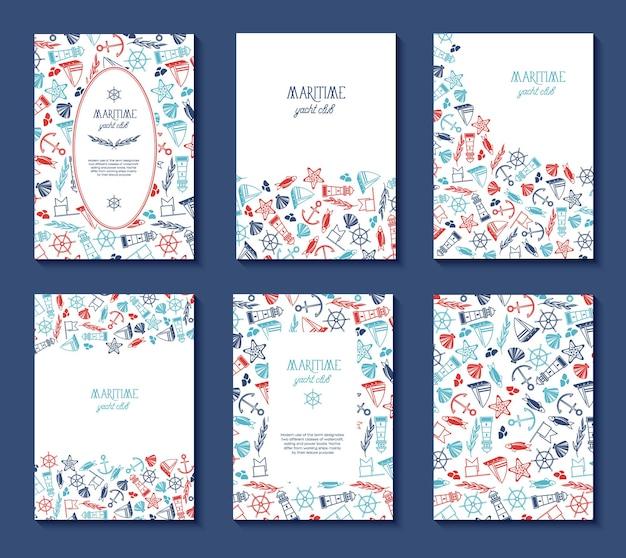 Platte ontwerp jachtclub set met mariene pictogrammen patroon en tekstveld geïsoleerd op blauwe flat