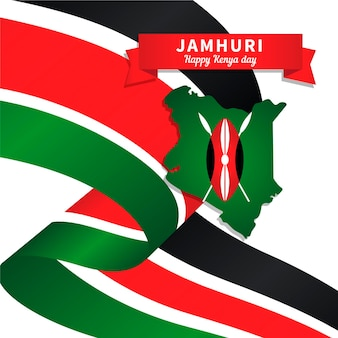 Platte ontwerp jamhuri-dag met de kaart van kenia