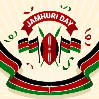 Platte ontwerp jamhuri day-evenementvlag