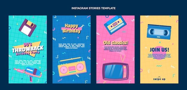 Platte ontwerp jaren 90 nostalgische verjaardag instagramverhalen