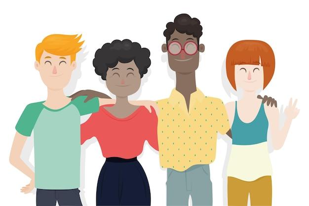 Platte ontwerp jeugddag - mensen knuffelen samen
