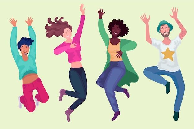 Platte ontwerp jeugddag springende mensen