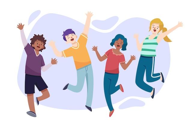 Platte ontwerp jeugddagevenement met springende mensen