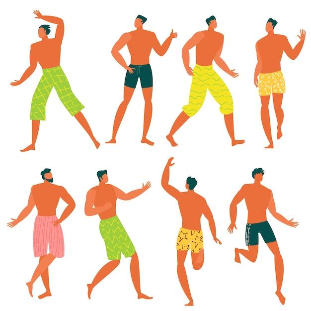 Platte ontwerp jonge mannen ontspannen op het strand