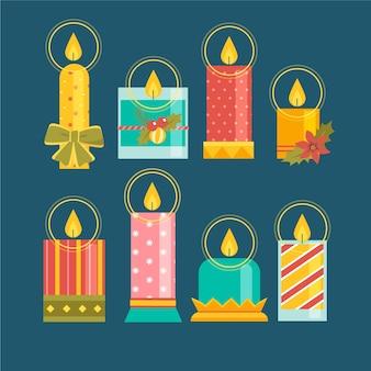 Platte ontwerp kaars kerstcollectie