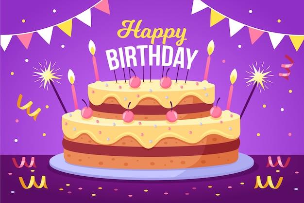Platte ontwerp kaart / uitnodiging sjabloon met cake