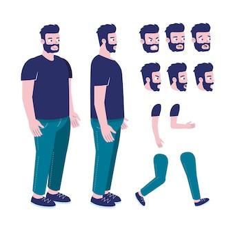 Platte ontwerp karakter animatieframes