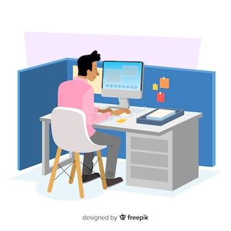 Platte ontwerp karakter kantoormedewerker