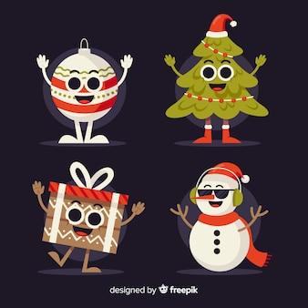 Platte ontwerp karakters kerstpakket
