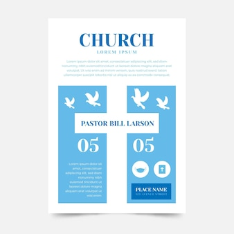 Platte ontwerp kerk flyer klaar om af te drukken