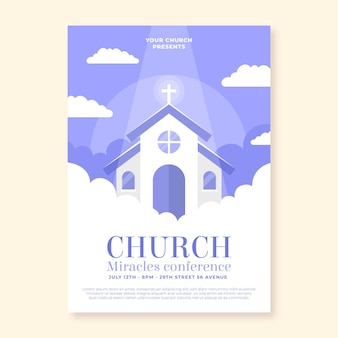 Platte ontwerp kerk flyer