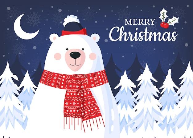 Platte ontwerp kerst achtergrond met beer