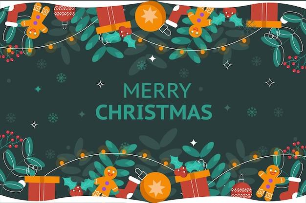 Platte ontwerp kerst achtergrond met geschenken