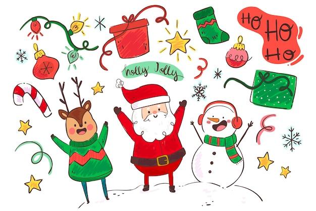 Platte ontwerp kerst achtergrond met karakters