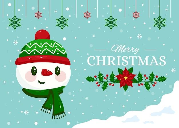 Platte ontwerp kerst achtergrond met sneeuwpop