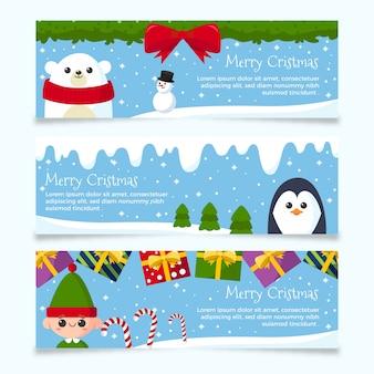 Platte ontwerp kerst banners set