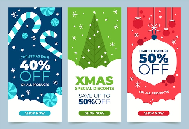 Platte ontwerp kerst banners sjabloon