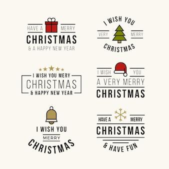 Platte ontwerp kerst belettering badge collectie