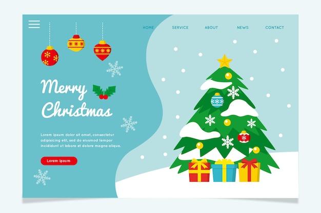 Platte ontwerp kerst bestemmingspagina sjabloon
