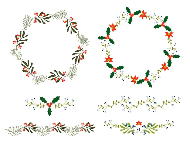 Platte ontwerp kerst bloemencollectie