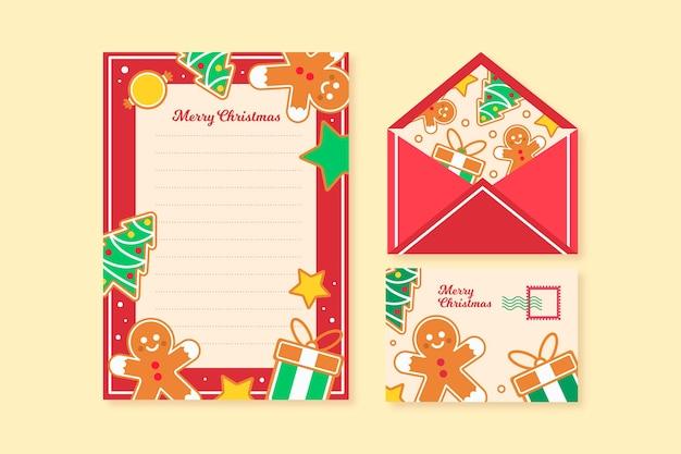Platte ontwerp kerst briefpapier sjabloon