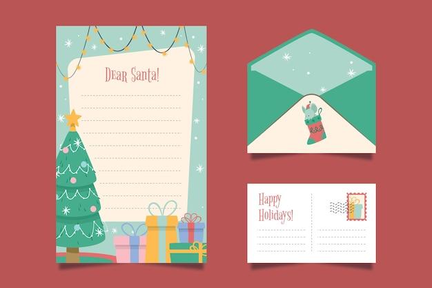 Platte ontwerp kerst briefpapier sjabloonpakket