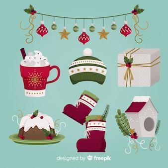 Platte ontwerp kerst element collectie