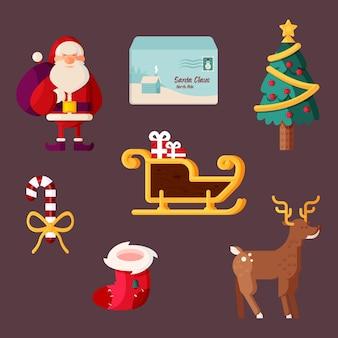 Platte ontwerp kerst element illustraties pack