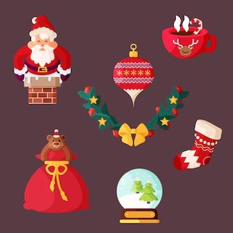 Platte ontwerp kerst element pack