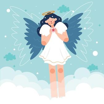 Platte ontwerp kerst engel illustratie