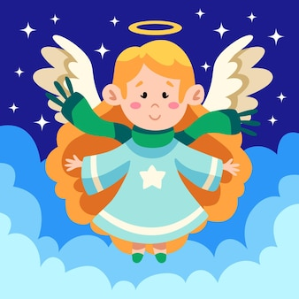 Platte ontwerp kerst engel