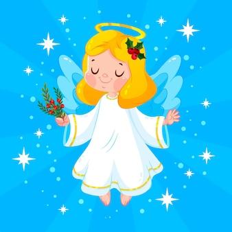 Platte ontwerp kerst engel Gratis Vector