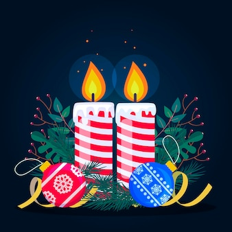 Platte ontwerp kerst kaars achtergrond