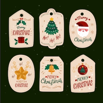 Platte ontwerp kerst label collectie
