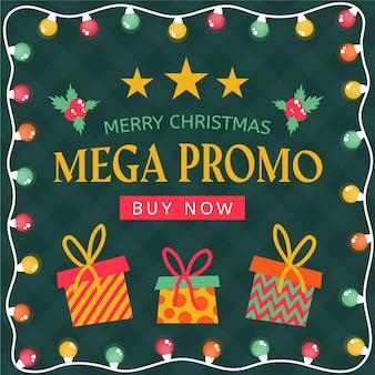 Platte ontwerp kerst mega promo banner