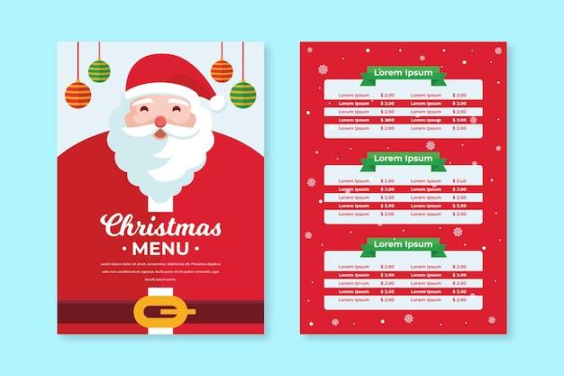 Platte ontwerp kerst menusjabloon