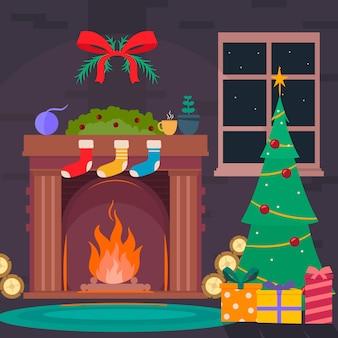 Platte ontwerp kerst open haard scène