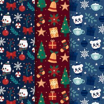 Platte ontwerp kerst patroon collectie