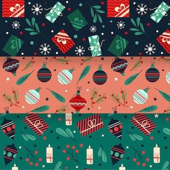 Platte ontwerp kerst patroon set