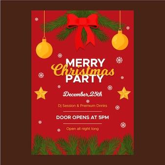Platte ontwerp kerst poster sjabloon