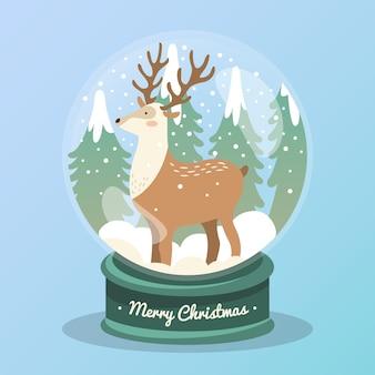 Platte ontwerp kerst sneeuwbal globe