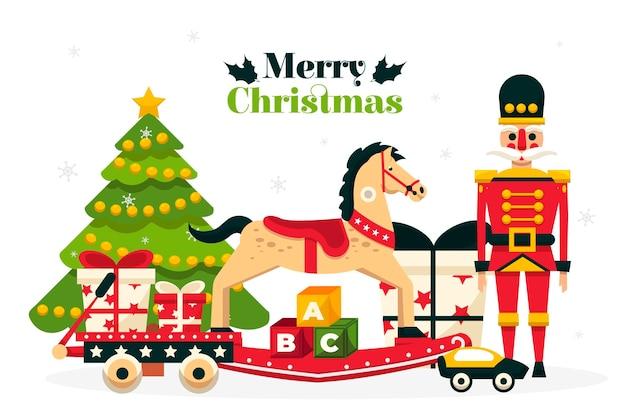 Platte ontwerp kerst speelgoed achtergrond
