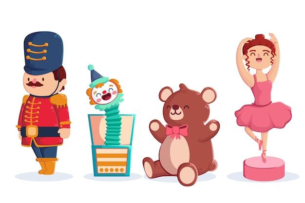 Platte ontwerp kerst speelgoed collectie Gratis Vector